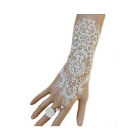 White Pearls French Lace Bridal Ring Gloves