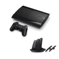 PS3 New Slim Console 500GB (Charcoal Black) + PS3 Dual Shock 3 Charging Station