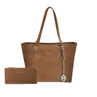 Shopping Bag + Plano Wallet ( Light Brown )